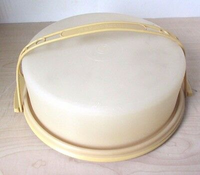 Vintage Tupperware Pie / Cup Cake or Single Layer Round Cake Carrier w Handle
