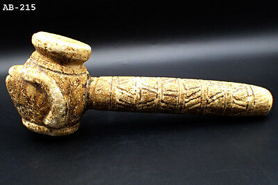 Very Old Bactrian Stone Stunning Hammer Pipe Lamp with RAM head#215