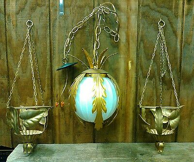 antique vintage gold ceiling light hanging flower planters