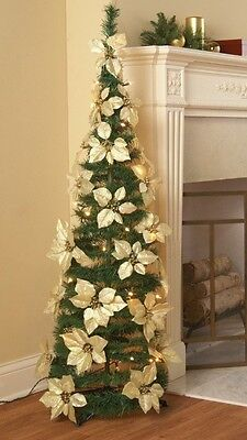 """52"""" Lighted Pop-Up Cream Colored Poinsettia Flower Christmas Tree"""