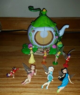 Lot 8 Disney Tinker bell And Fairies Friends Figures & Teapot Play House Toy