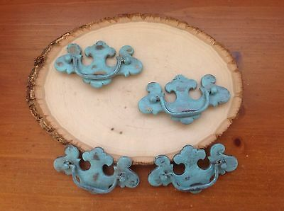 563 VTG French Provincial/Chippendale Pulls Turquoise 4 Available. Shabby Chic!