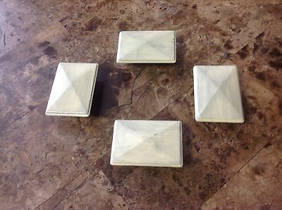 032 Vintage Midcentury Ivory Wash And Brushed Handles Set Of 4