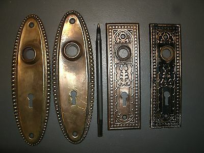 VINTAGE DOOR KNOB DOOR HANDLE BACK PLATES HARDWARE INDUSTRIAL ART Parts Lot....