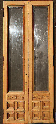 "55""x113 Antique Wood Wooden Exterior Entry Double Door Window Beveled Glass Lite"