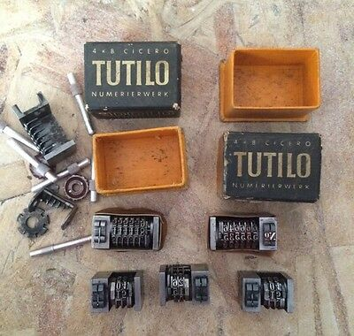 Lot Of Various Vintage Antique Numbering Machines For Letterpress, Some Broken