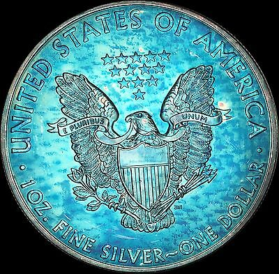 2012 American Silver Eagle ASE BU MS Monster Rainbow Color Toned Gem #17128