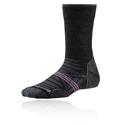 SmartWool PhD Light Crew Womens Grey Black Outdoors Walking Long Socks
