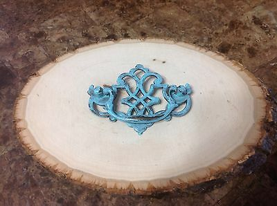 "411 Vintage Chippendale Handle In A Turquoise Wash. 3"" Hole To Hole"