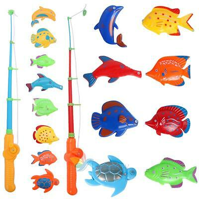 Funny Fishing Rod Magnetic Fish Net Game Set Educational Bath Toy Kid Baby Gift
