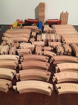 173 pc 16+ lb Lot Wooden Train Track Brio Thomas Curve Switch Straight Elevation