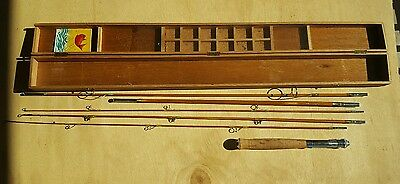 Vintage 8ft.Stellar Bamboo Fly Fishing Rod in original wooden case Made in Japan
