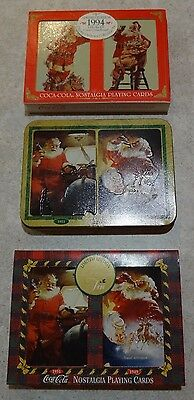 Vintage COCA COLA Playing Cards in Tins -  Santa, Christmas - 6 decks