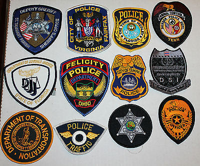 12 assorted POLICE Patches PD lot #J