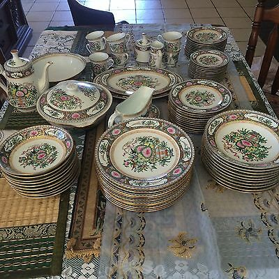 Large Chinese Dinner Set  Vintage Hand Painted  Signed