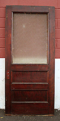 40x90 Antique Vintage Door Exterior Entry Wood Wooden Textured Glass Window Lite