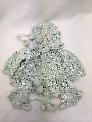 Vintage Hand Crocheted Baby Sweater, Bonnet & Booties Light Green Infant Layette
