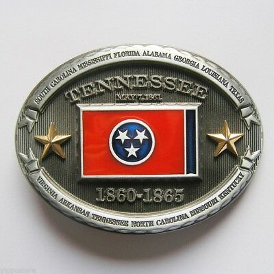Tennessee TN State Flag Western Metal Belt Buckle