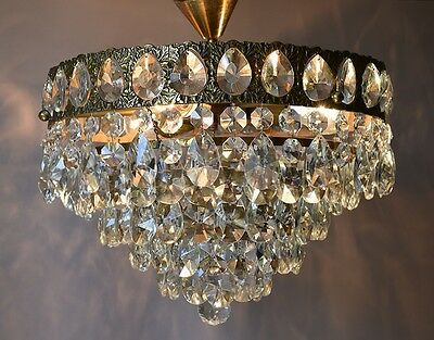 "16.53"" Antique French Vintage Crystal Chandelier Lamp 1950'S Home Decor Lighting"