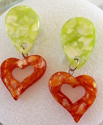 Green & Orange Plastic Drop Dangle Clip On Earrings