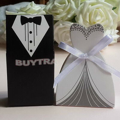 100x Wedding Favor Candy Boxes Bridal Groom Dress Tuxedo Party Ribbon Gift VVV