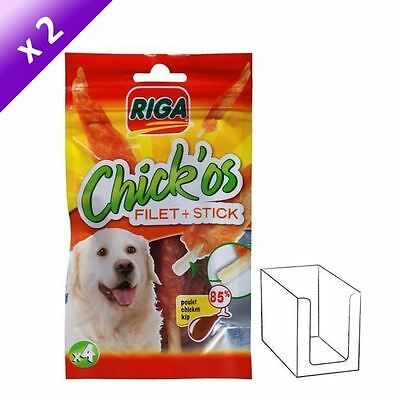 RIGA Lot de 2 Chick'os Filets de poulet + stick x 4 pour chien 75g