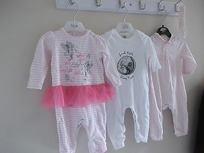 Bundle of Girl Baby Grows 3-6 Months Includes One With a Tu Tu & Headband
