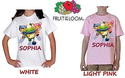 Team Umizoomi Kids Personalised White/light Pink Tee T-Shirt Ages 1-11 Gift Item