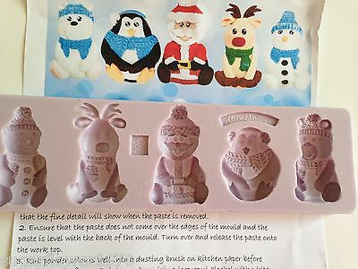 Karen Davies Christmas Characters Sugarcraft Mould Santa penguin polar bear