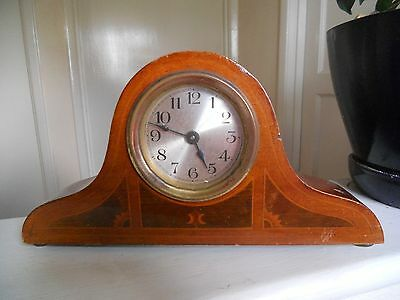 wooden clock inlaid pattern no key not working  10.50 w x 5.50 h