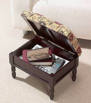 Storage Footstool Greenhurst Wooden Tapestry Style Padded Dark Mahogany Finish