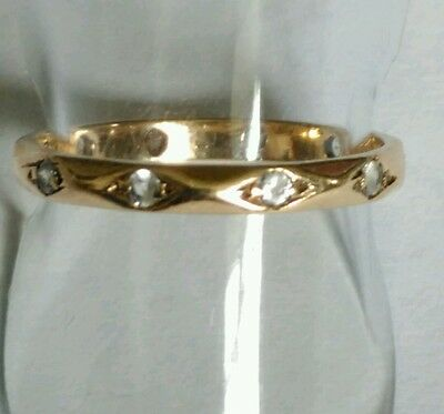 Vintage 9ct Gold Diamond Full Eternity Band Ring. Size N 1/2