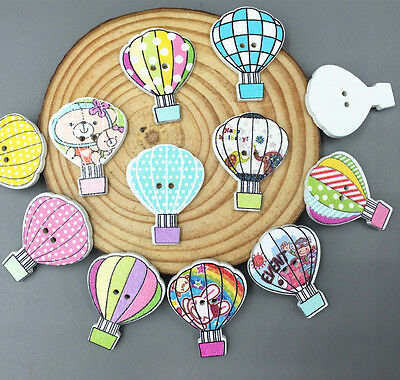 50pcs Cartoon Wooden Mix hot air balloon Buttons sewing scrapbooking craft 30mm