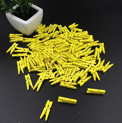 50pcs Yellow Crafting Pieces Wooden clips Clothe Photo Paper Peg Clothespin 25mm
