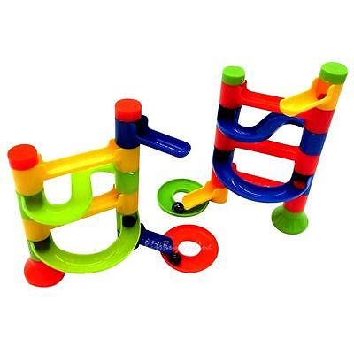 Kids Marble Race Run Construction Toy Children Game Maze Buliding Block Tower