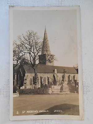 c1947 Real Photo Postcard ST MARTIN'S CHURCH JERSEY POSTED STAMP