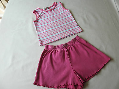 Girls pink shorts and stripey top age 2 - 3 years