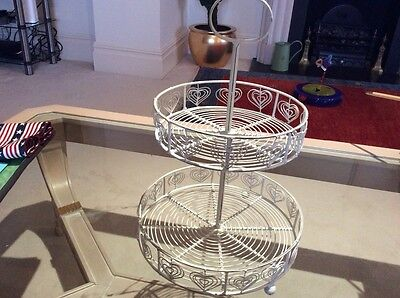 White metal 2  tier cake stand