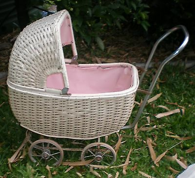 Vintage white plastic covered cane Doll's Pram with chrome handle, dolls & more