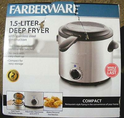 Farberware 1.5 Liter Deep Fryer Stainless Steel Construction Cool Touch Handle