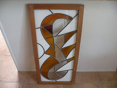 """Vintage stained glass window, panel, wood frame, modern design, unique 33""""X16.5"""""""
