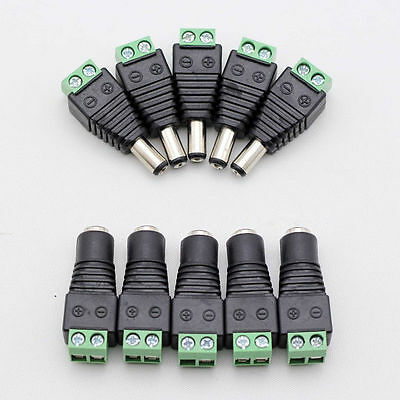 10 X Male + Female DC Power Plug Jack Adapter Connector for CCTV 2.1mm x 5.5mm