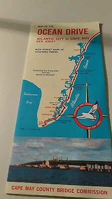 Map of Ocean Drive New Jersey Cape May County Bridge Commission 1964
