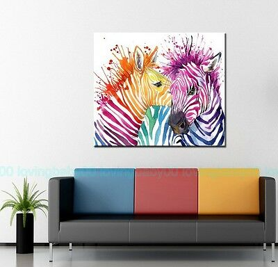 Rainbow Zebra Couple Love Stretched Canvas Prints Wall Art DIY Home Decor Framed