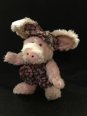 Boyds Bears Kaitlin McSwine Plush Pig in Floral Romper. Rare in the UK