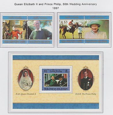 Solomon Islands 1997 Royal 50th Wedding Anniversary stamp set & M/S U/Mint