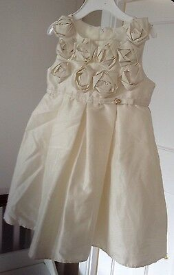 Bridesmaid / Flower Girls Cream Dress With Rose Detail Age 2 Years VGC