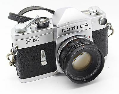 Konica FM 35mm Film SLR Camera with 52mm lens and case – GC/Tested – Rare c.1964