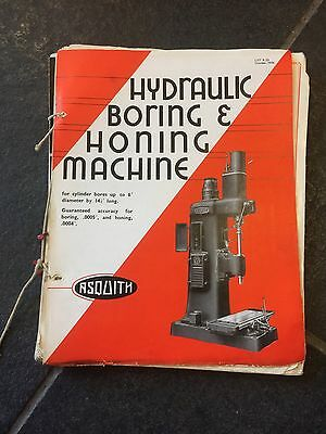 Vintage Asquiths Hydraulic Boring & Honing Machine Brochure Catelogue Oct 1934