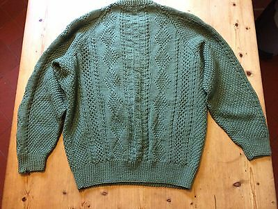 Vintage hand knitted jumper - green small mens size